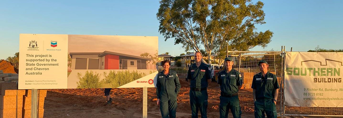 St John ambulance volunteers Renae Coates, Andrew Price, Jason McKenzie and Tim Dunlop on site at the new centre.